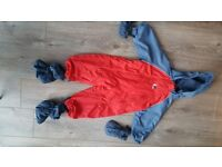 Bush Baby Snow and Splash suit. 18-24 month Fleece lined inc kosi toes and mitts. Fully waterproof