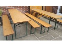 Used German beer garden folding pine trestle table and bench set, ideal pop up patio furniture