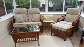 Wicker conservatory furniture (sofa, two armchairs and glass coffee table)