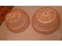 Pair of wicker ceiling light shades 70cm diameter