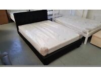 NEW JOHN LEWIS BLACK LEATHER KING SIZE BED & DEUXE SEMI ORTHOPAEDIC MATTRESS ONLY £325 Can Deliver