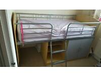 Quality cabin bed with mattress and desk