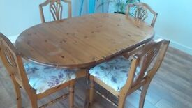 Solid Pine DUCAL Folding Dining Table and 4 Chairs