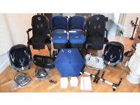ROYAL BLUE BUGABOO DONKEY TWIN+2 MAXI COSI CABRIOFIX CAR SEATS & MANY EXTRAS-RRP £1800.00