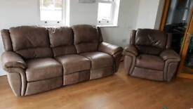 For sale 3 Piece Suite comprising of Two 3 seater Recliner sofas and 1 Recliner Armchair Leather