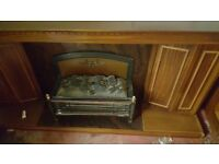 Two-bar Real Wood Electric Fireplace with Ornamented Sides in Good Condition