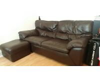 Comfy 3 seater Brown Sofa with Footstool