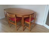 Retro style dining table and 4 chairs