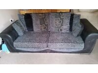 SCS poppy Black sofa and cuddle chair