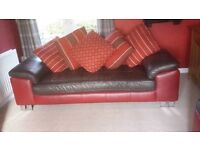 leather 3 seater sofas x 2 in brown and red leather (modern design)