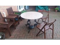 Heavy Garden table. Fully restored. Cast iron and Granite. Bargain only £60.