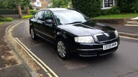 2005 SKODA SUPERB ELEGENCE 2.5 TDI V6 AUTOMATIC BLACK SAT NAV FULL LEATHER SERVICE HISTORY MOT SEP