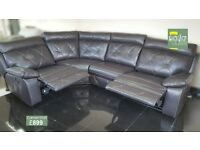 Designer Black Leather reclining 4 piece corner sofa (92) £899
