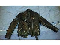 Black Leather Jacket for Biker Girl Medium ( S/M )