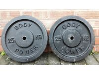 25KG CAST IRON BODY POWER WEIGHT PLATES - 1 Inch holes