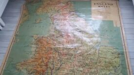 Vintage Schoolroom Map of England and Wales