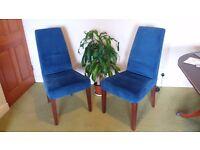 2 velvet chairs ex John Lewis or M&S