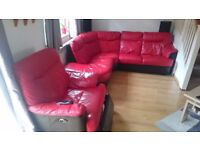 Red/black leather sofa with electric armchair for sale.