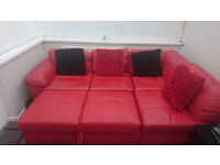 Red Italian Corner Sofa For Sale (turn into Sofabed)