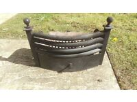 Cast iron fire grate with ash tray and fire tools