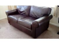 Pair of brown leather ikea settees, clean and comfy!
