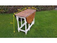 Restored Oak-Topped Drop Leaf Table