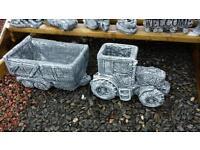 Concrete john deer tractor and trailer garden ornament planter