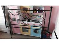 Black wrought iron/metal double headboard