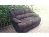 Lovely recliner sofa. Brown 2 seater. Corduroy.