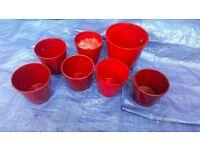 Seven lovely red ceramic indoor plant pots