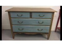 CHEST OF DRAWERS ANTIQUE VINTAGE SOLID WOOD PAINTED ANNIE SLOAN DUCK EGG BLUE