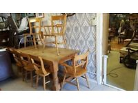 Pine Farmhouse Table & 6 Chairs