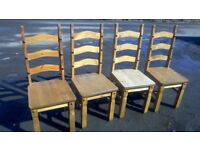 Rustic Mexican pine set of four ladder back dining chairs