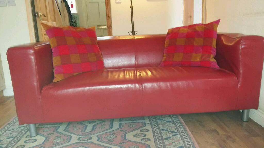Free Red Leather Ikea Klippan Sofa In Teignmouth Devon