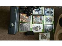 Xbox 360 250gb with 2 controller, keypad and games