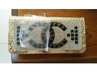 Purse / bag gold diamantie bling Romany style new with protective covering
