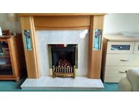 Stylish decorative fire surround and marble hearth .. inset in style of Rennie MacIntosh