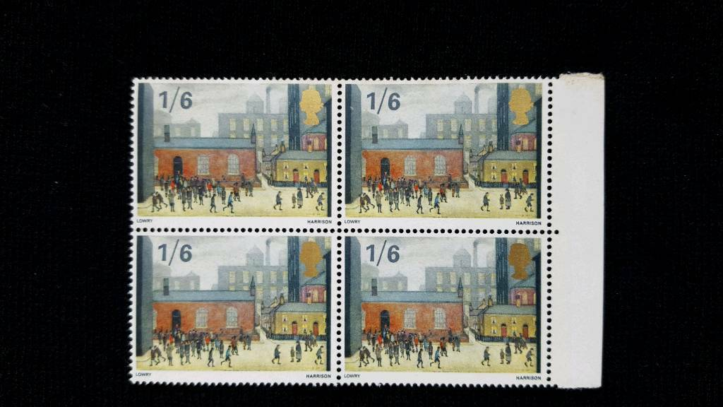 BLOCK OF 4 LOWRY BRITISH PAINTINGS 1/6 STAMPS