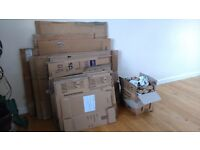 Removal boxes, strong professional boxes, approx 40, various sizes, inc bubble wrap not shown