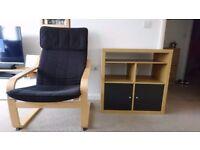 Armchair, TV unit, satellite dish