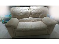 Cream leather sofa from DFS