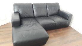 3 seater black leather corner sofa