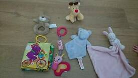 Selection of plush baby toys