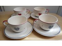 BHS hand painted teacups set of 4