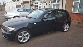 SOLD BMW 1 series, black, low mileage, mot/service May 2017, tax £30 - April 2017