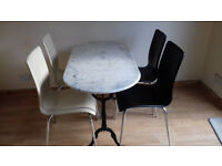 150cm * 60cm small marble effect table (stone top metal stand) and 4 chairs.