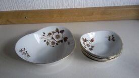 Chodziez serving dish and 5 matching small bowls