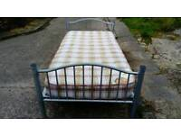3'SINGLE SILVER METAL BED FRAME WITH MATTRESS FREE LOCAL DELIVERY