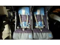 Maclaren Twin Techno Baby Blue/ Grey Double Pushchair Excellent Condition Hardly Used