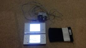 White Nintendo DSi + Charger + Sock Case